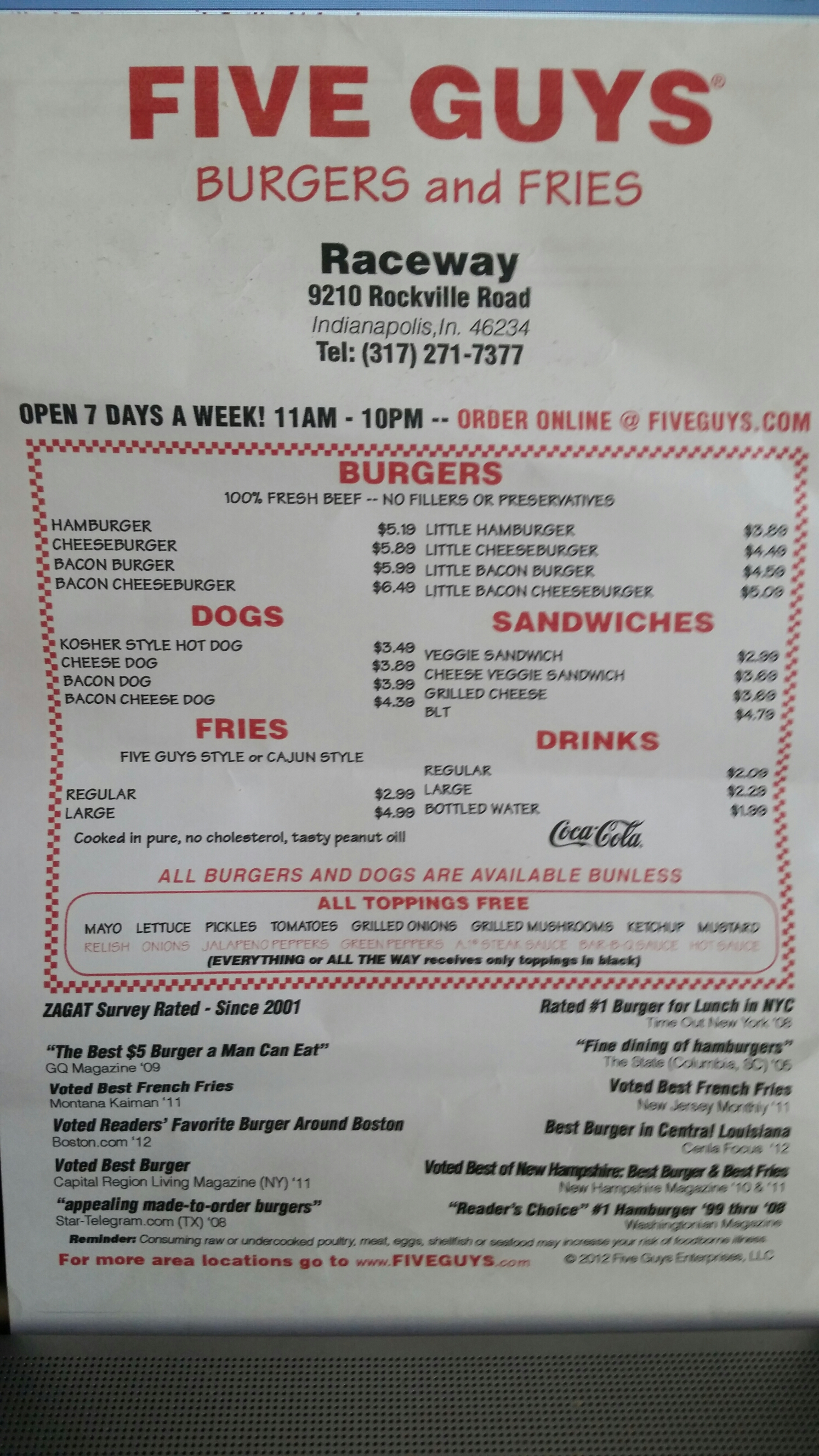 Printable Five Guys Menu | myideasbedroom.com