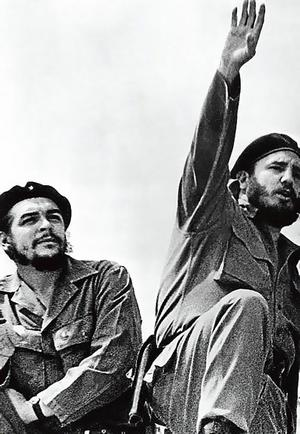 Cuban rebel leader Fidel Castro  (right)  and Argentine born revolution leader Ernesto Che Guevara  (left)  on the day they entered Havana after the victory over the forcesof Cuban dictator Fulgencio Batista.